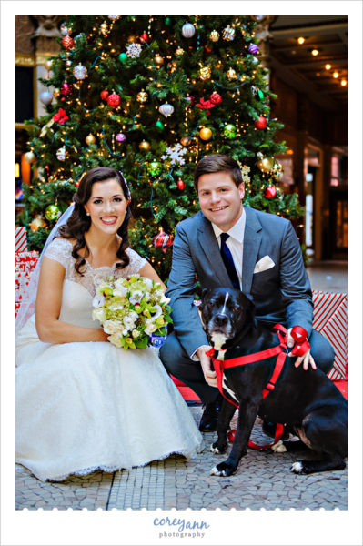 Bride and Groom with Dog at Wedding in Cleveland