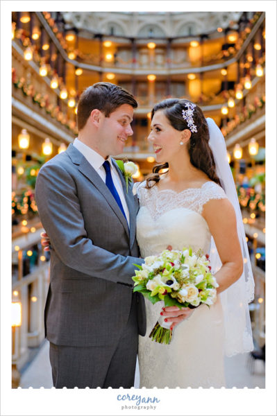 Wedding photo at the Hyatt Regency Cleveland at the Arcade