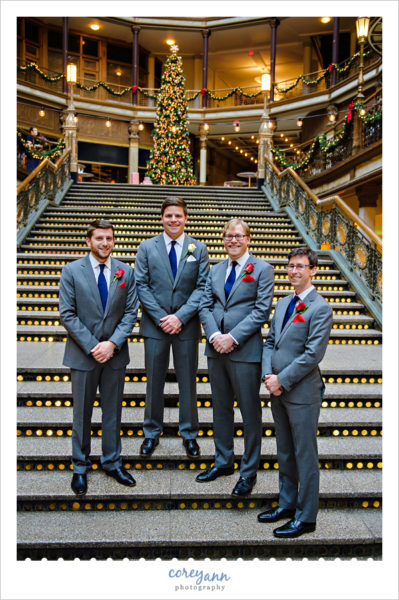 Groom and Groomsman at Hyatt Regency Cleveland in December