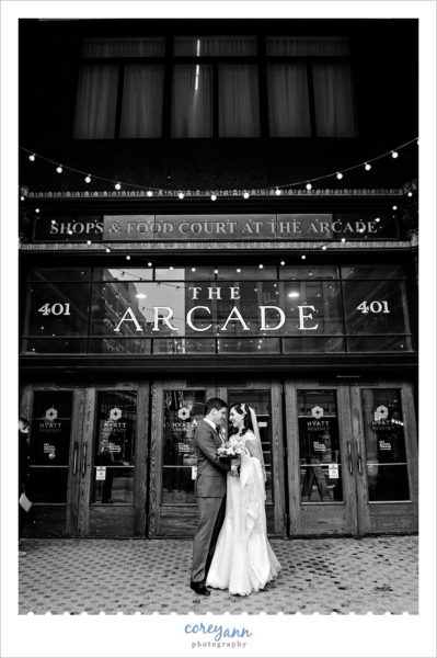 Wedding photo outside The Arcade in Cleveland