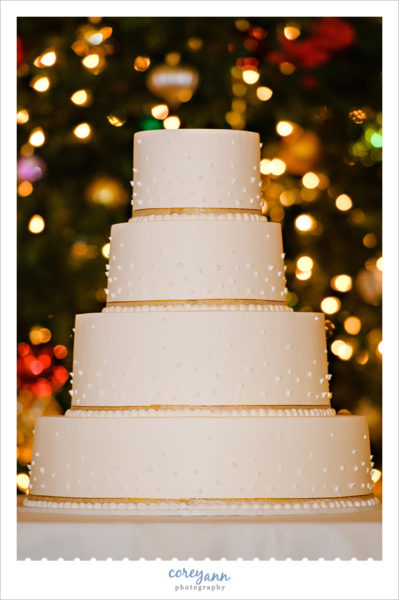 White and Gold Wild Flour Bakery Wedding Cake