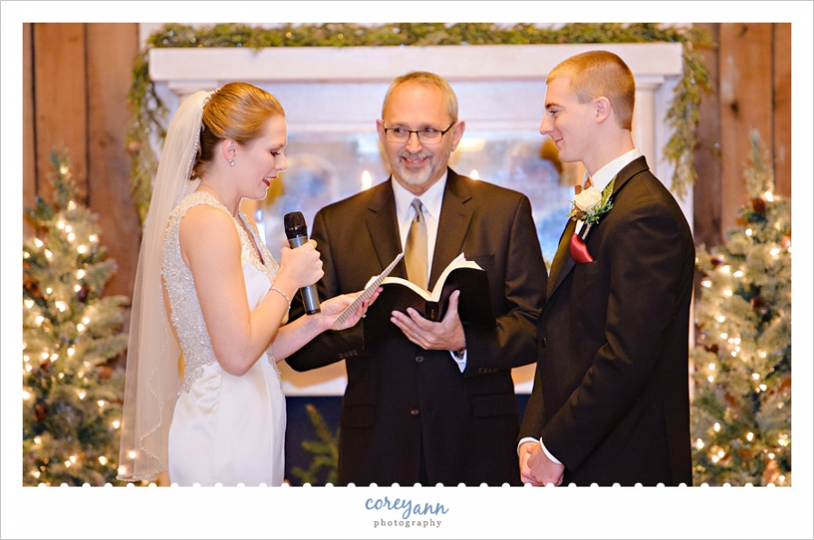 December wedding ceremony at Brookside Farms
