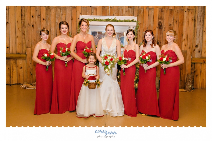 Bride and Bridesmaids in long red gowns