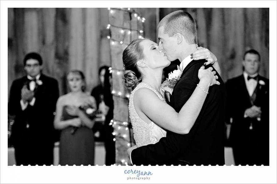 First dance at wedding reception at Brookside Farms