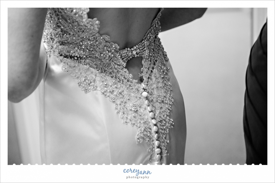 Rhinestone back of wedding dress