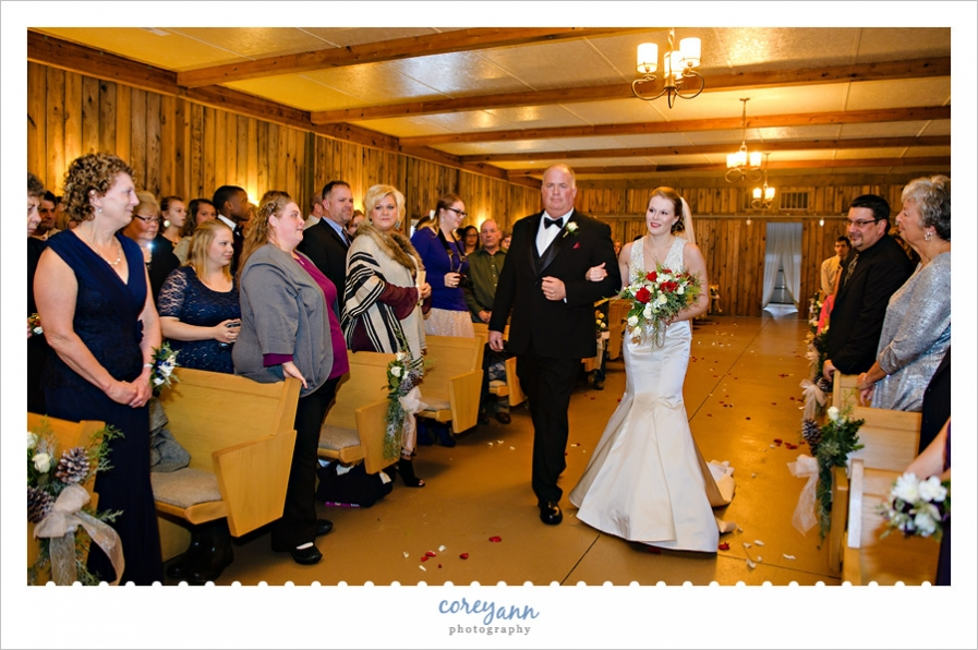 Bride and Father walking down aisle for wedding