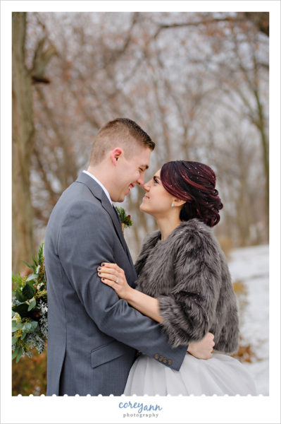 Winter wedding portraits in Bay Village