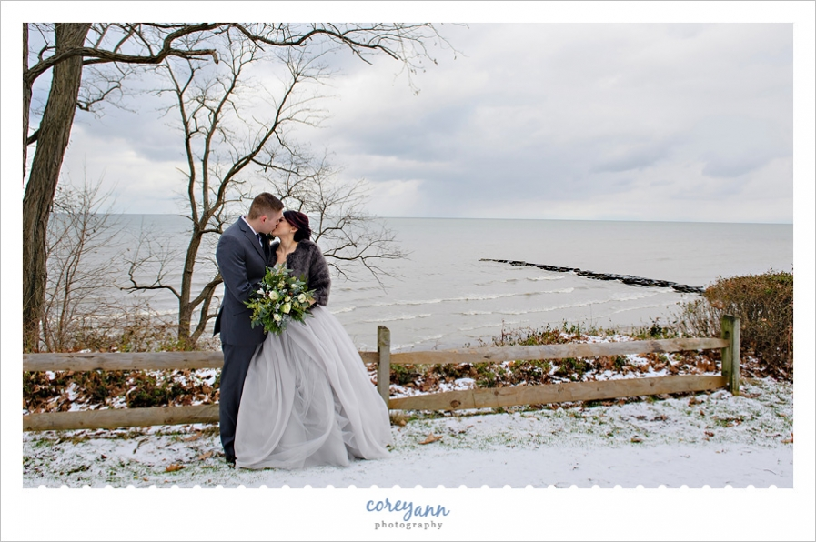 Winter wedding portrait by Lake Erie
