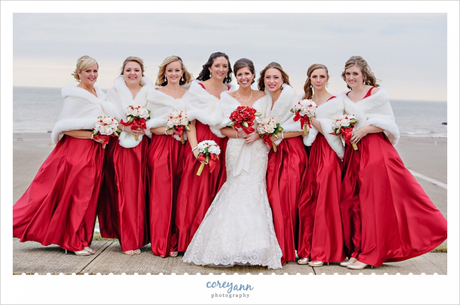 Bride and Bridesmaids wearing red in Conneaut Ohio