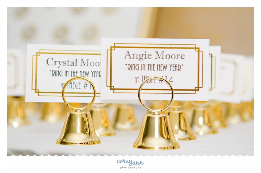 Bell placecard holders for New Years Eve Wedding