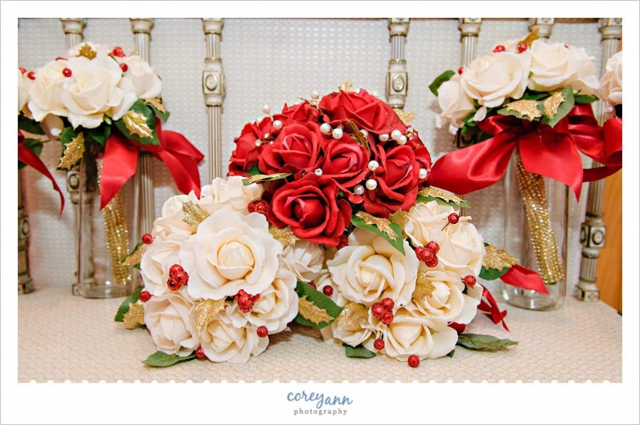 Handmade red and white silk floral wedding bouquets