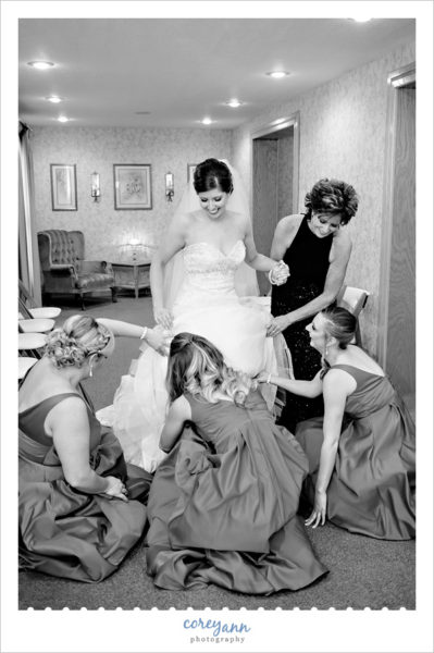 Bride getting ready for New Years Eve Wedding