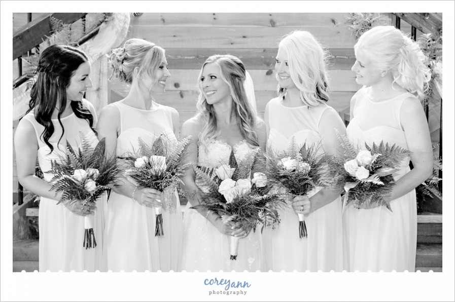 Bride and Bridesmaids at Mapleside Farms Wedding