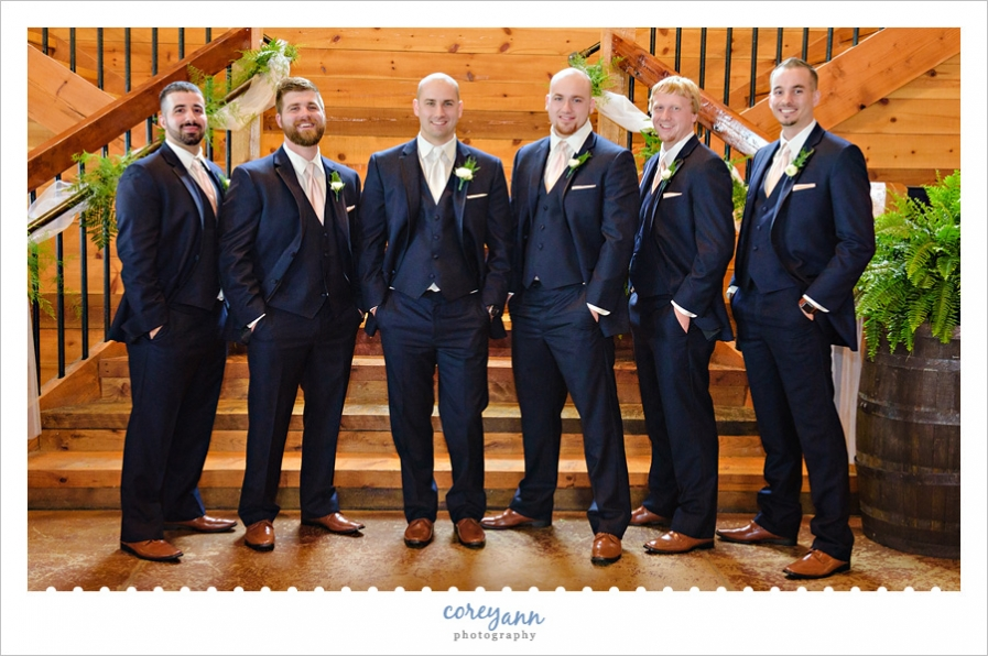 Groom and Groomsman in Navy Blue Suits