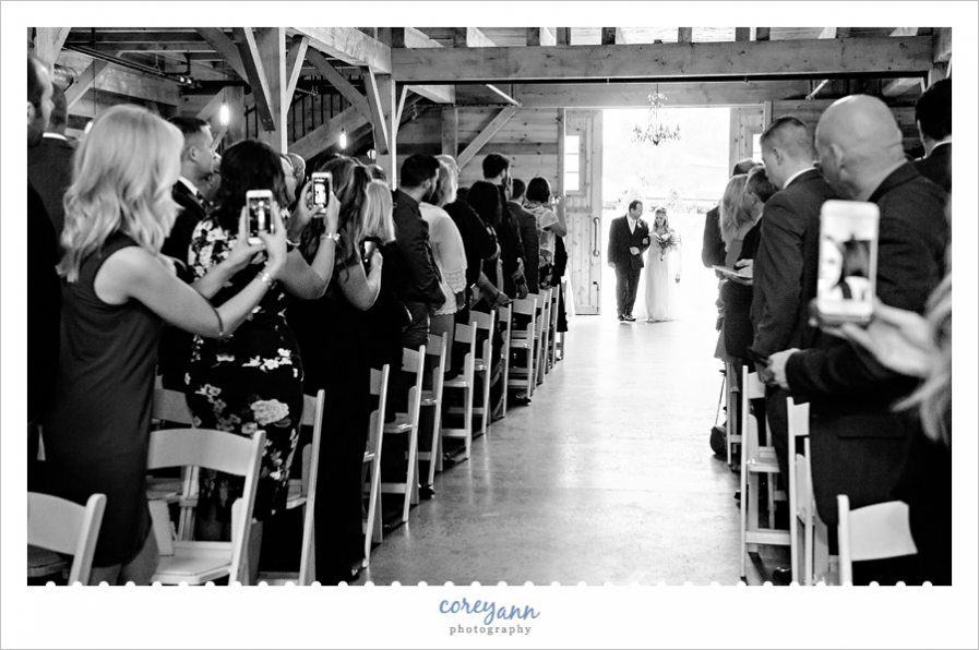 Indoor wedding ceremony at Mapleside Farms