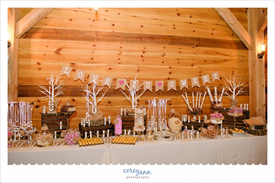 Wedding candy buffet at Mapleside Farms