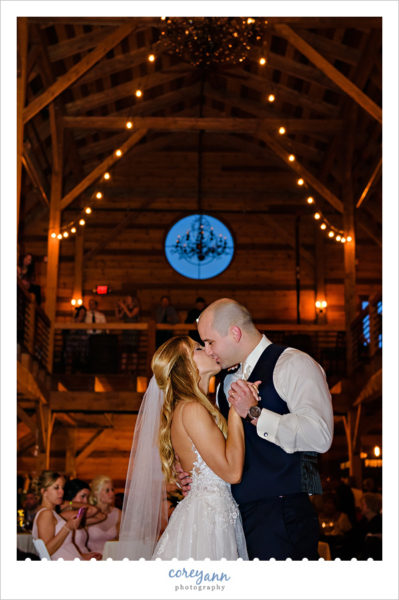 First dance at wedding reception at Mapleside Farms