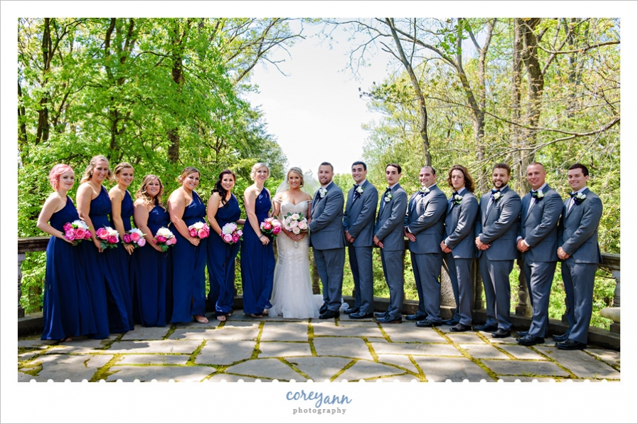 Wedding Party in Navy and Pink at Stan Hywet