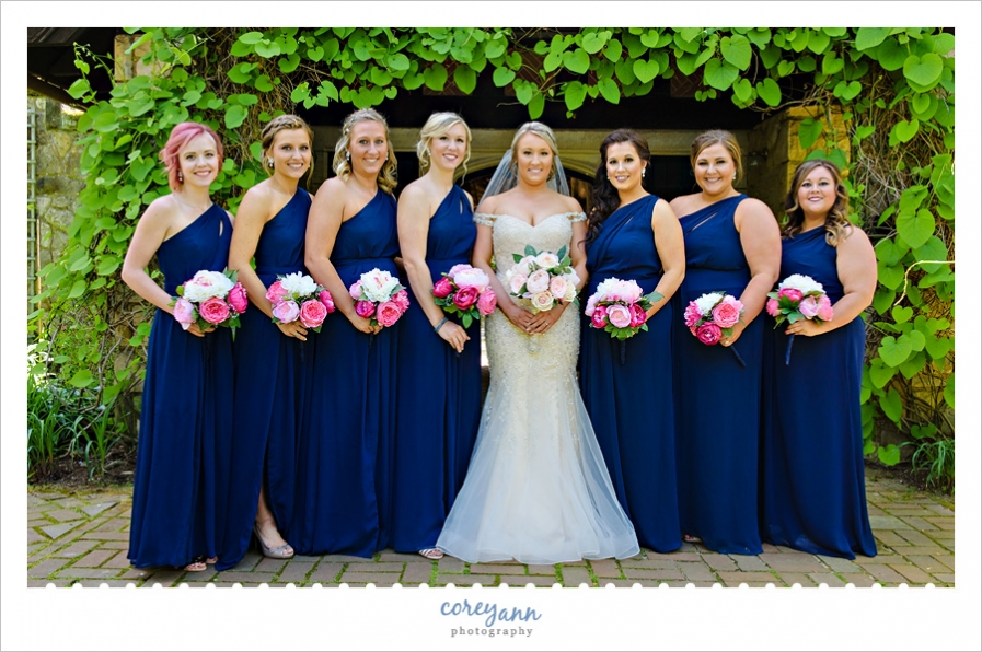 Bride and Bridesmaids at Stan Hywet