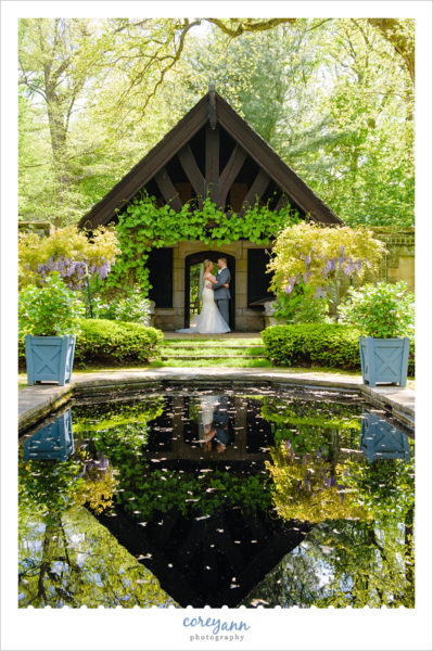 Bride and Groom Wedding Portrait in Stan Hywet