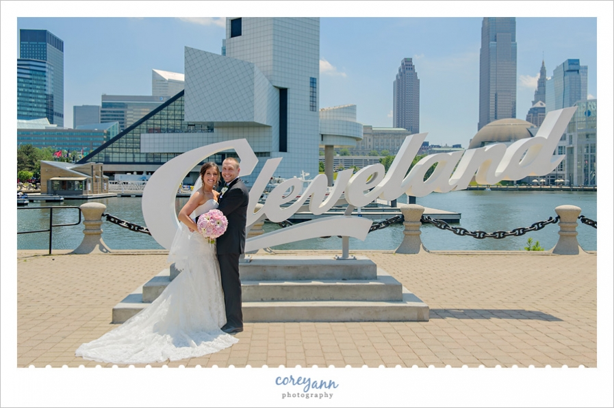 Wedding Photo at Cleveland Script Sign