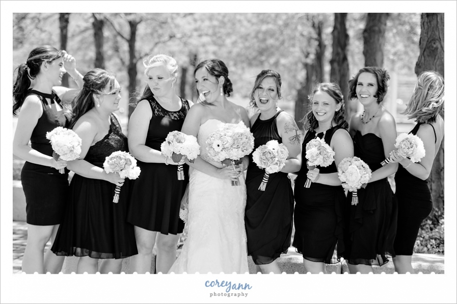 Bride and Bridesmaids in Downtown Cleveland