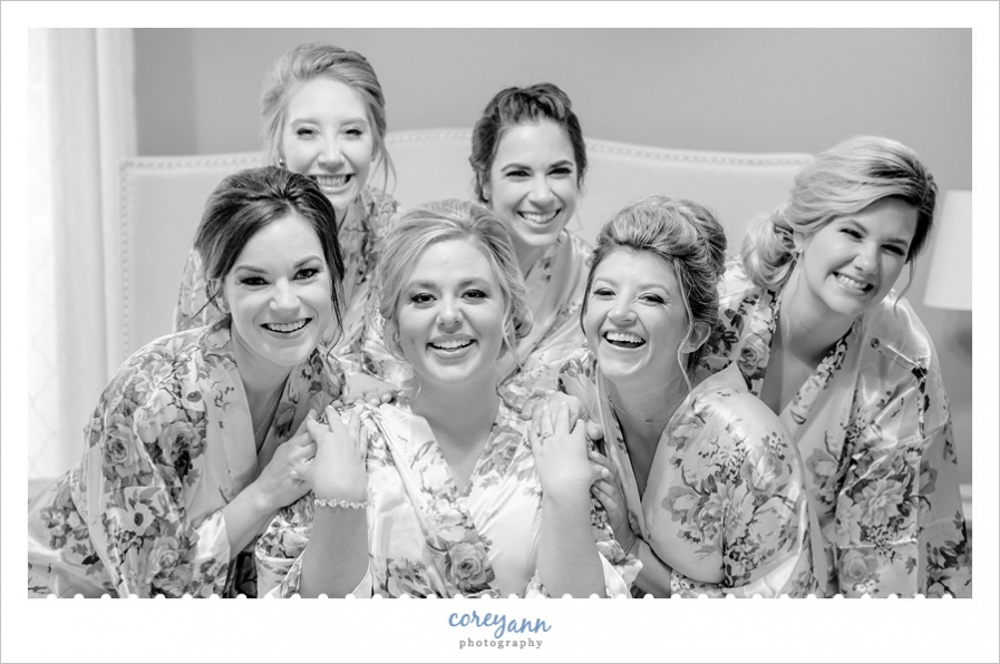 Bride and Bridesmaids in robes before wedding