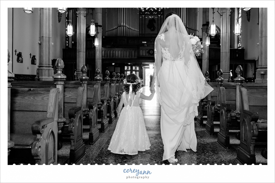 Bride and Flower Girl at St Mary