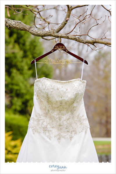 Wedding dress on personalized hanger