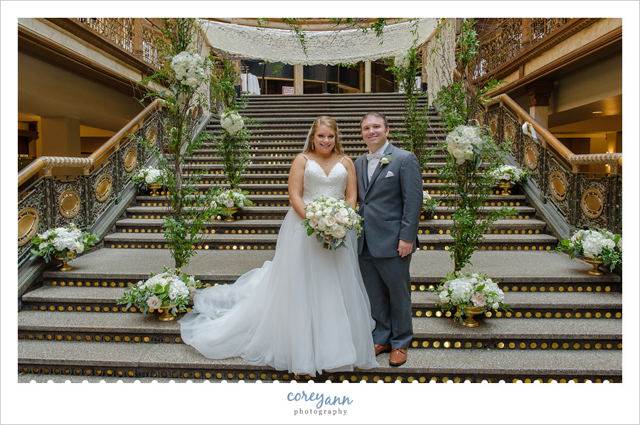 Bride and Groom at the Cleveland Hyatt Arcade before their wedding