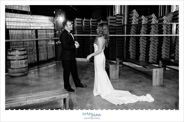 First Look before wedding at Masthead Brewing in Cleveland