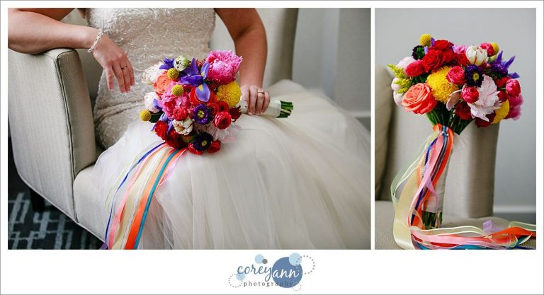 Rainbow themed bridal bouquet for wedding in Cleveland
