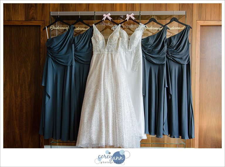 Bride and Bridesmaid Dresses Hanging