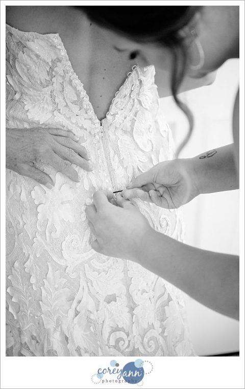 Bride getting ready for wedding at The Westfield Inn in Ohio